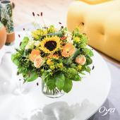 """C'est la rentrée ! Tournesol, rose, germini et œillets, découvrez """"Au bout du fil"""" le bouquet rond de cette nouvelle florale. . . . #papier #fil #rentree #bouquetrond#flowers #florist #flowerstagram #flowershop #instafleurs #collections #oyafleurs #oya #flowerpower #artfloral"""